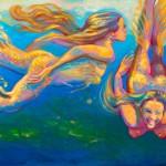 "2 Legged MermaidsOil 18"" x 24""Original isa Maria$800"
