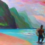 """Fisherman at Ke'eOil 30"""" x 40""""Original isa Maria$2900"""